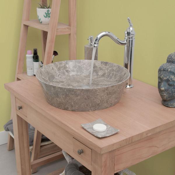 Marmor Waschbecken spitz zulaufend poliert grau