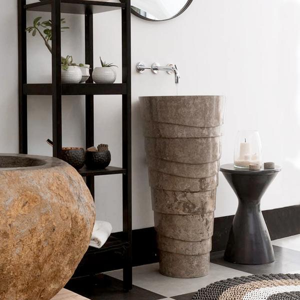 Marmor Waschtischsäule 'LEPET' grau