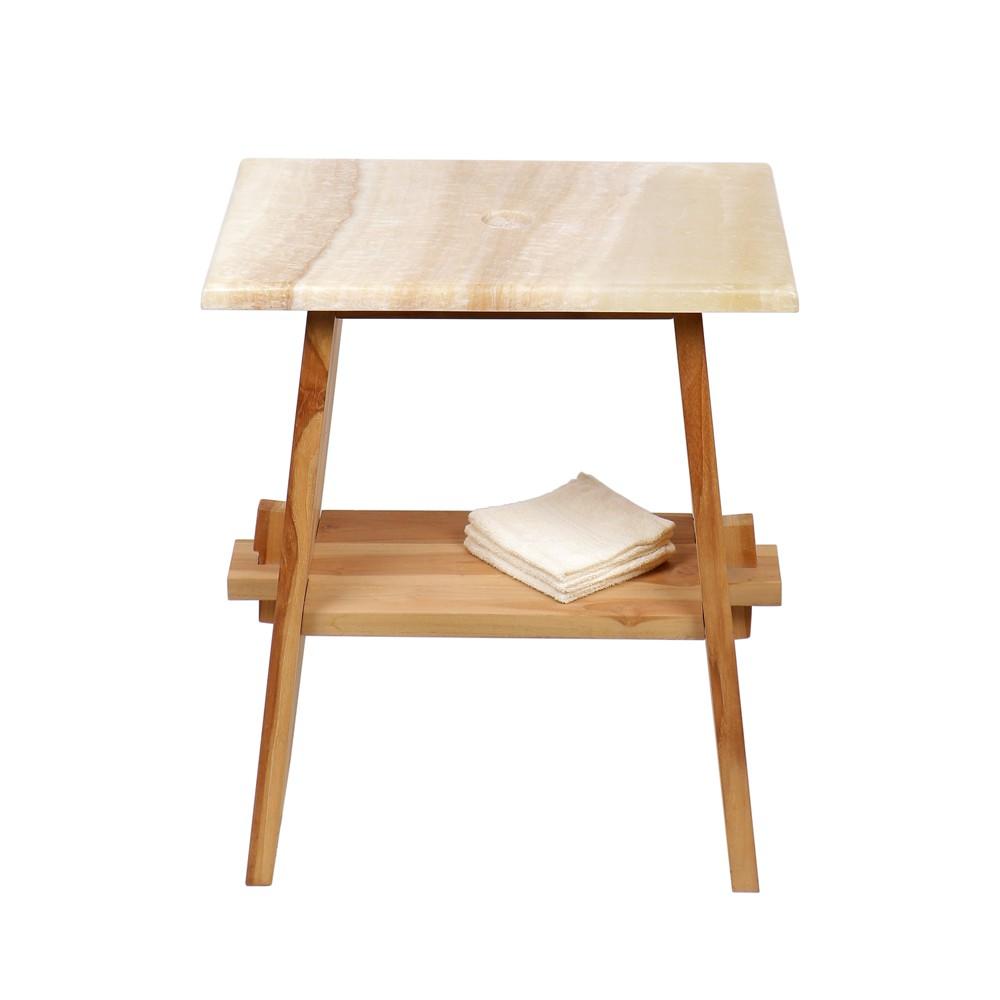 WOHNFREUDEN Teak Holz Waschtisch Unterschrank ZEN + ONYX Platte 60x40x74 cm