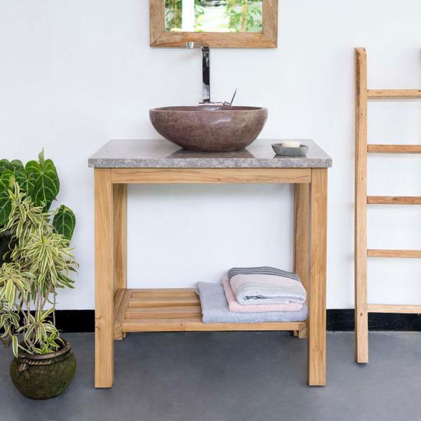 Teak Holz Waschtisch mit Marmorplatte grau 80x52x76 cm