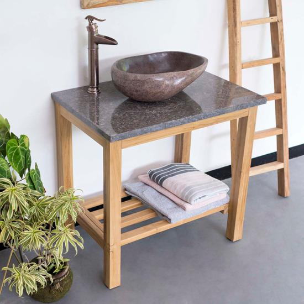 Teak Holz Waschtisch mit Marmorplatte anthrazit 80x52x76 cm