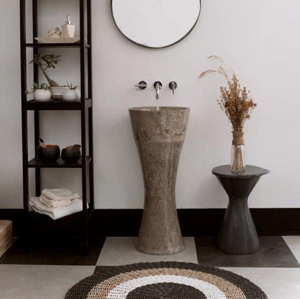 Waschtisch-Säule Marmor 'ALPHA' Slim grau