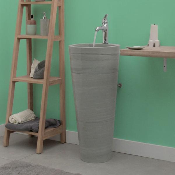Waschtisch-Säule 'Pedestal' aus grünem Sandstein mit Armaturloch