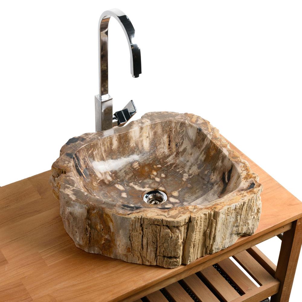 Waschbecken fossiles Holz 52x44x14 cm versteinert