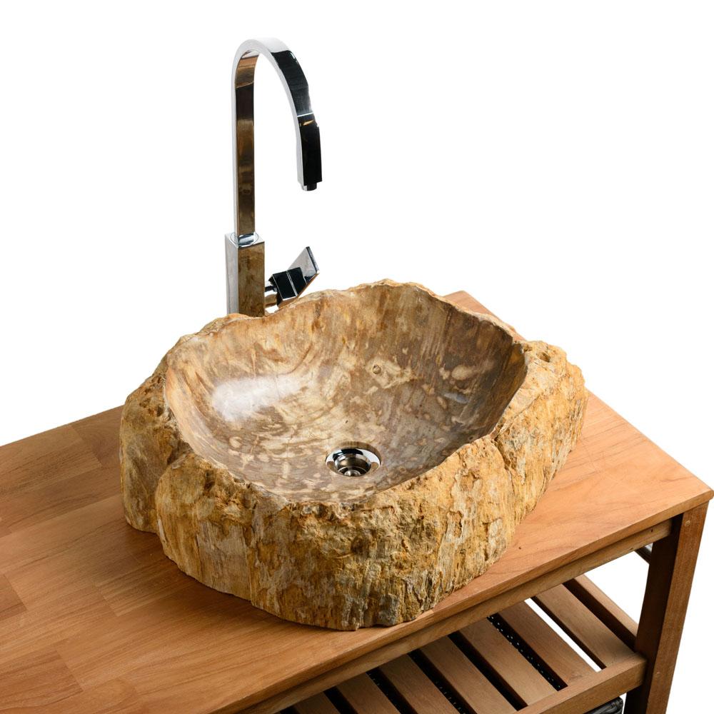 Waschbecken aus fossilem Holz 56x42x16 cm