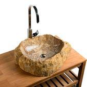 Waschbecken aus fossilem Holz 56x42x16 cm Bild 1