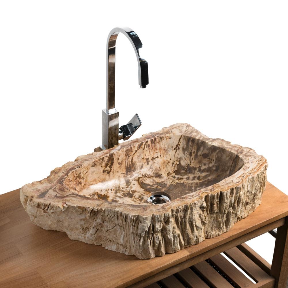 Waschbecken aus versteinertem Holz 67x37x14 cm