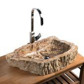 Waschbecken aus versteinertem Holz 67x37x14 cm Bild 1