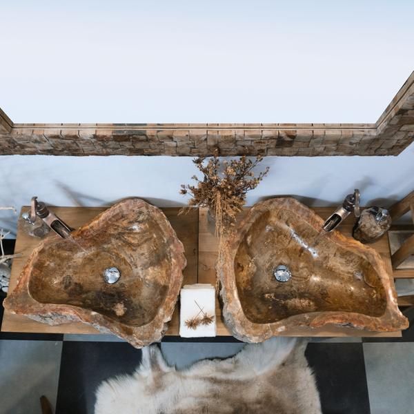 Waschbecken Pärchen fossiles Holz ca. 73x58x15cm