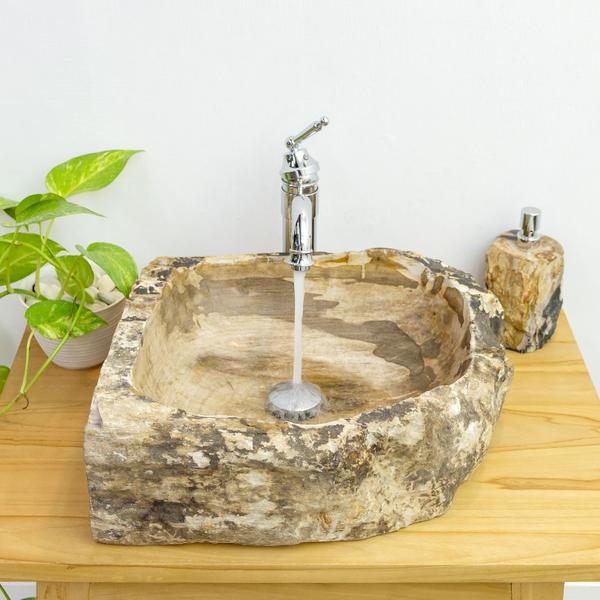 Waschbecken fossiles Holz 54x41x16 cm