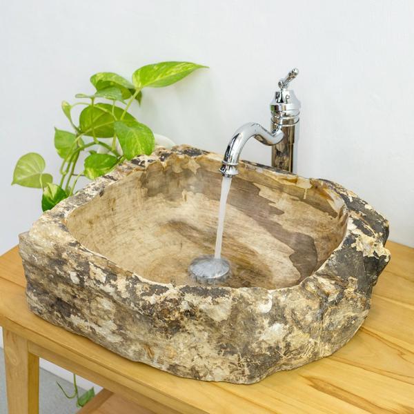 Waschbecken fossiles Holz 30-40 cm