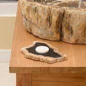 Schale / Seifenschale fossiles Holz 20x18x2 cm Gr. M Bild 1
