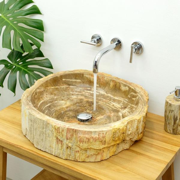 Waschbecken fossiles Holz 'Abstrakt' ca. 45 cm mit Bildergalerie