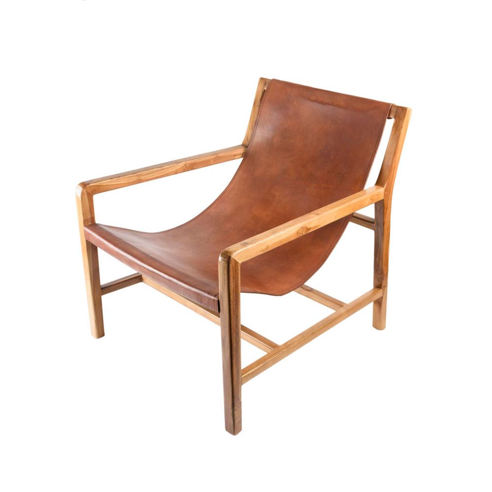 Stuhl 'Renata' Cognac brown aus Teakholz und Leder