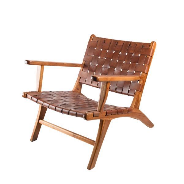 Stuhl 'Makasar Arm' Cognac Brown aus Teakholz und Leder