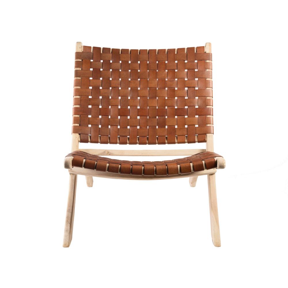 Klapp-Stuhl 'Selayar' Cognac Brown aus Teakholz und Leder