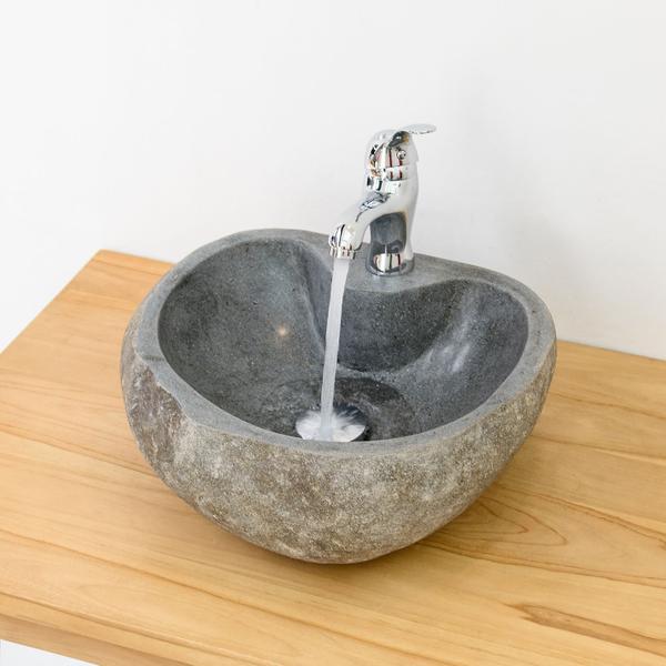 Waschbecken 40 cm Naturstein inkl. Armatur, Siphon & Ventil