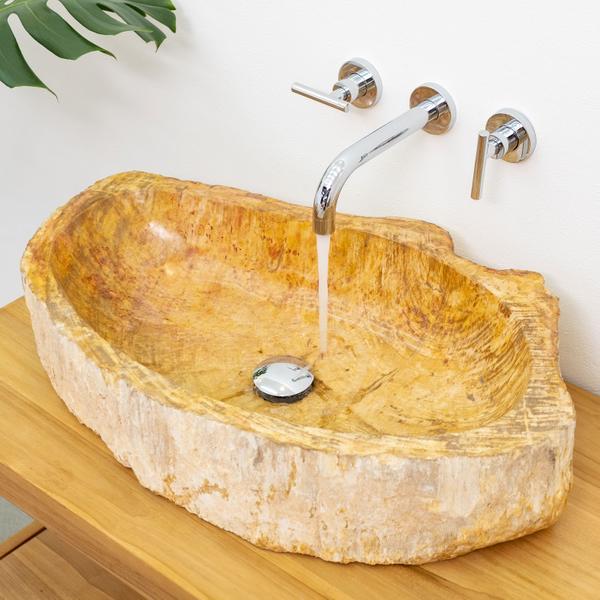 Fossiles Waschbecken innen poliert braun-creme 60-70 cm