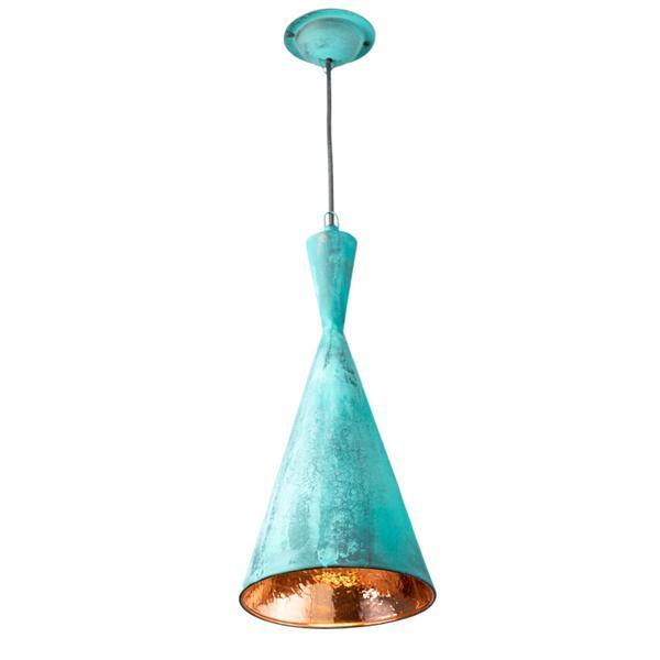 Kupfer Lampe Terompet  20 x 45 cm grün
