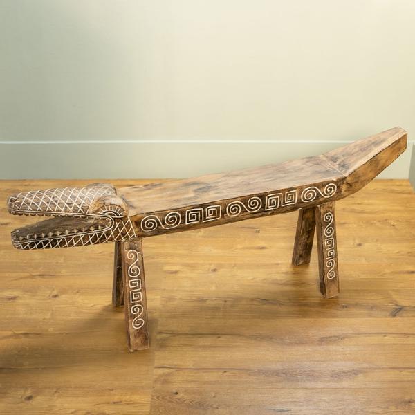 Holz-Bank Krokodil ca. 140 cm aus Suarholz
