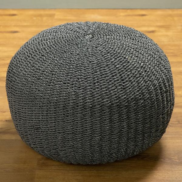 Sitz-Pouf Bruno 60 cm aus Seegras grau