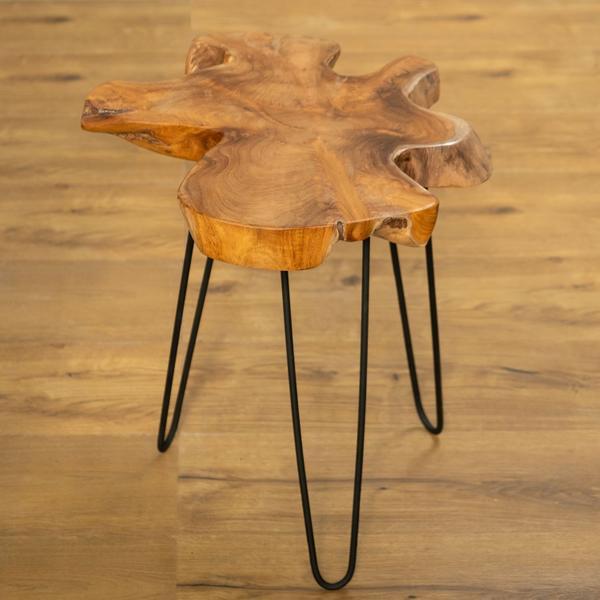 Beistell-Tisch Ozaki aus Teakholz und Eisen schwarz