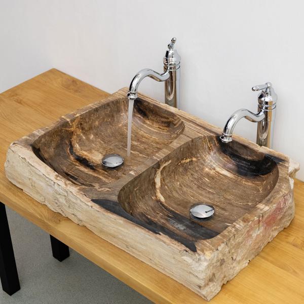 Fossiles Holz Doppel-Waschbecken 70 cm