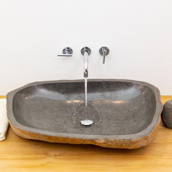 Naturstein Waschbecken oval innen Poliert 80 cm