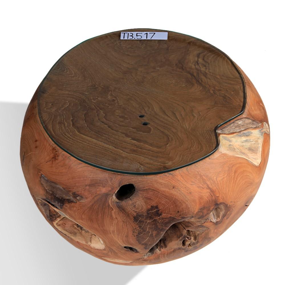 teak holz tisch mit glasplatte ca 55cm bei wohnfreuden kaufen. Black Bedroom Furniture Sets. Home Design Ideas