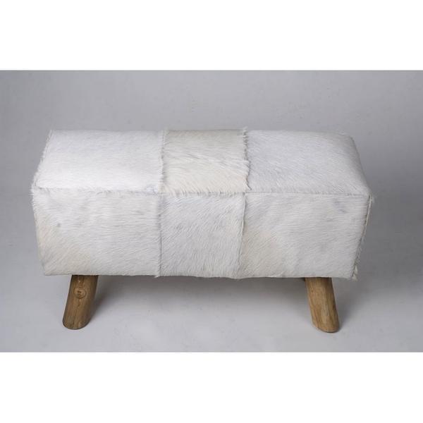 Ziegen-Fell Bank weiß 80x37x41 cm