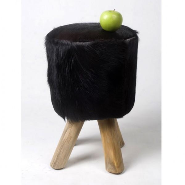 WOHNFREUDEN Hocker Fell Ziege Teak-Holz 42 cm Stuhl Natur Sitzmöbel schwarz