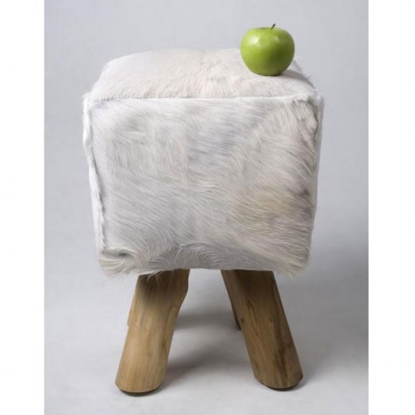 ziegen fell hocker quadratisch wei 42 cm bei wohnfreuden kaufen. Black Bedroom Furniture Sets. Home Design Ideas