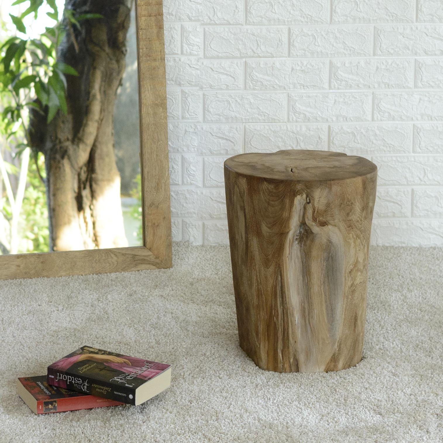 WOHNFREUDEN Teak Holz Stamm Hocker massiv ca. 40 cm geschliffen