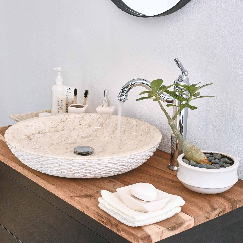 Marmor - Waschbecken LEMPER gehämmert 50 cm creme
