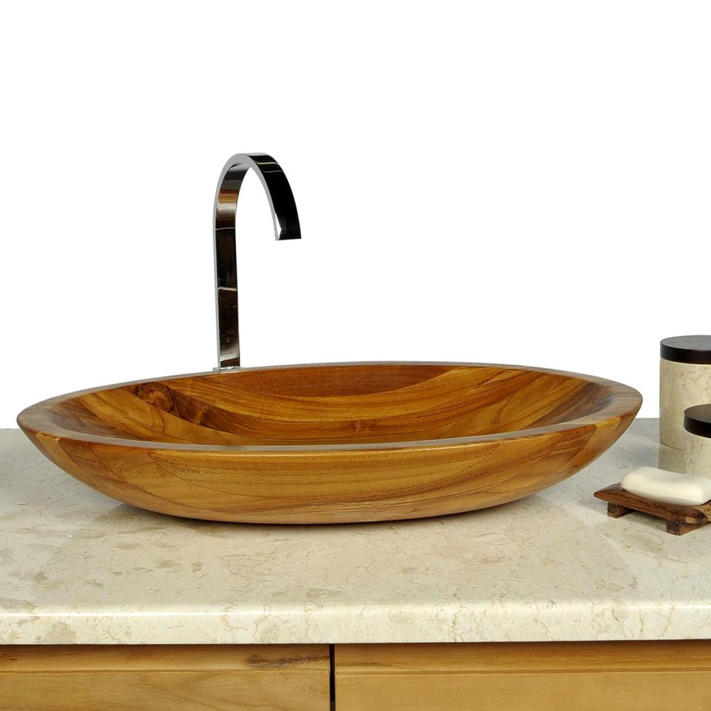 teak holzwaschbecken oval ca 60 cm bei wohnfreuden kaufen. Black Bedroom Furniture Sets. Home Design Ideas