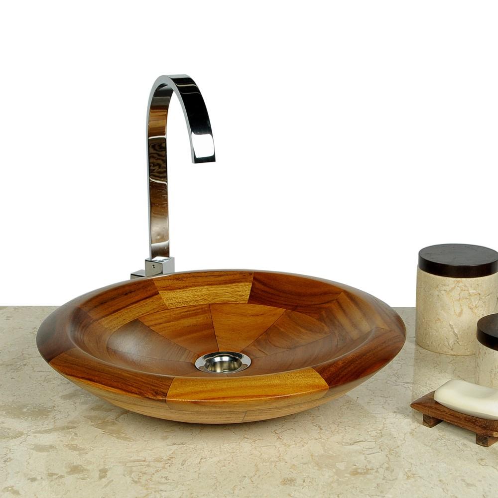 teak holz waschbecken rund 40 cm bei wohnfreuden kaufen. Black Bedroom Furniture Sets. Home Design Ideas