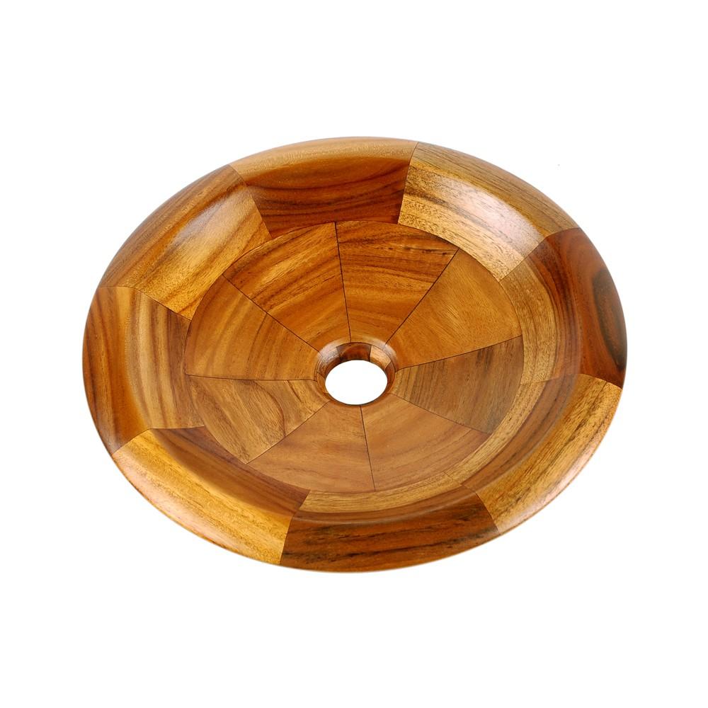 Holz-Waschbecken von WOHNFREUDEN | Aufsatzwaschbecken aus Teakholz 40 cm rund