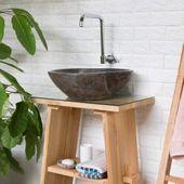 Naturstein Waschbecken 40 cm rundum poliert Waschschale Findling Bild 3