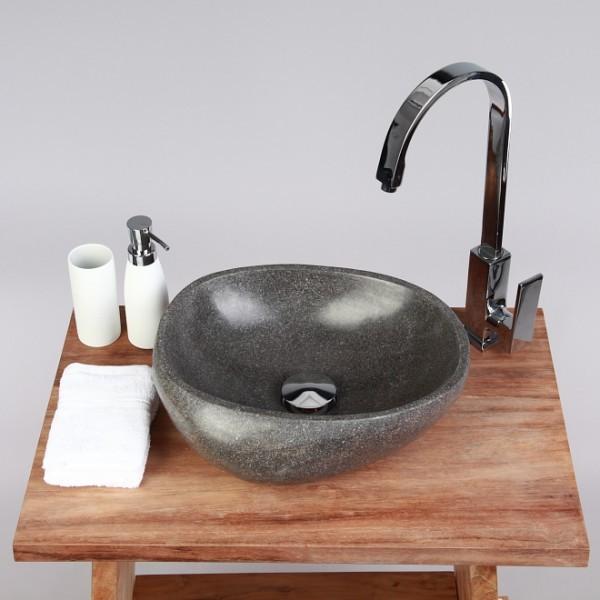 Naturstein Waschbecken 30 cm rundum poliert Waschschale Findling