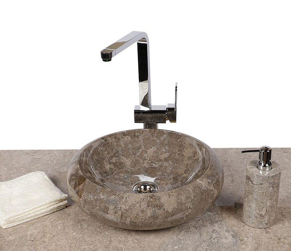 WOHNFREUDEN Marmor Naturstein Waschbecken 40 cm rund grau Stein Gäste WC