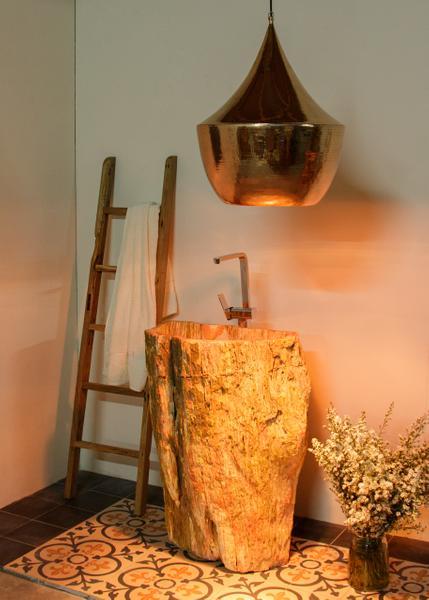 Waschtischs-Säule fossiles Holz braun rot ca. 63x45x90cm