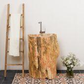 WOHNFREUDEN Naturstein Waschtischs-Säule fossiles Holz braun rot ca. 63x45x90cm