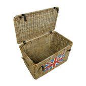 WOHNFREUDEN Rattan Truhe UK Flagge Korb Design Aufbewahrung England Box 65x39x38 4