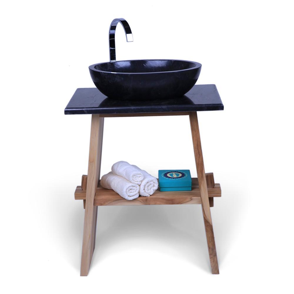 Teak Holz Waschtisch ZEN Inkl. Marmorplatte Schwarz 60x40x74 Cm 001