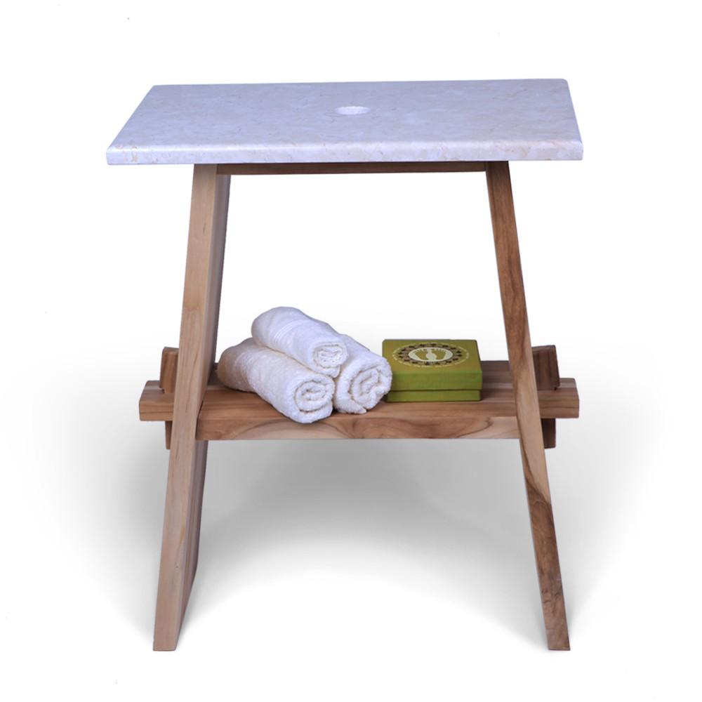WOHNFREUDEN Teak Holz Waschtisch Unterschrank ZEN + Marmor Platte creme 60x40x74 cm