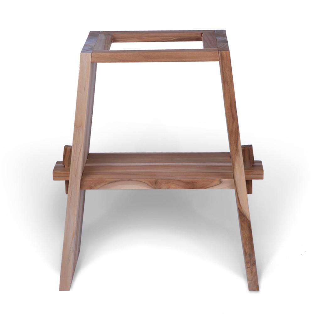 WOHNFREUDEN Teak Holz Waschtisch Unterschrank ZEN + Marmor Platte 60x40x74 cm