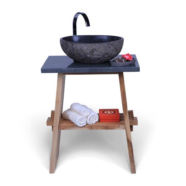 Teak Holz Waschtisch ZEN inkl. Flußsteinplatte schwarz 60x40x74 cm