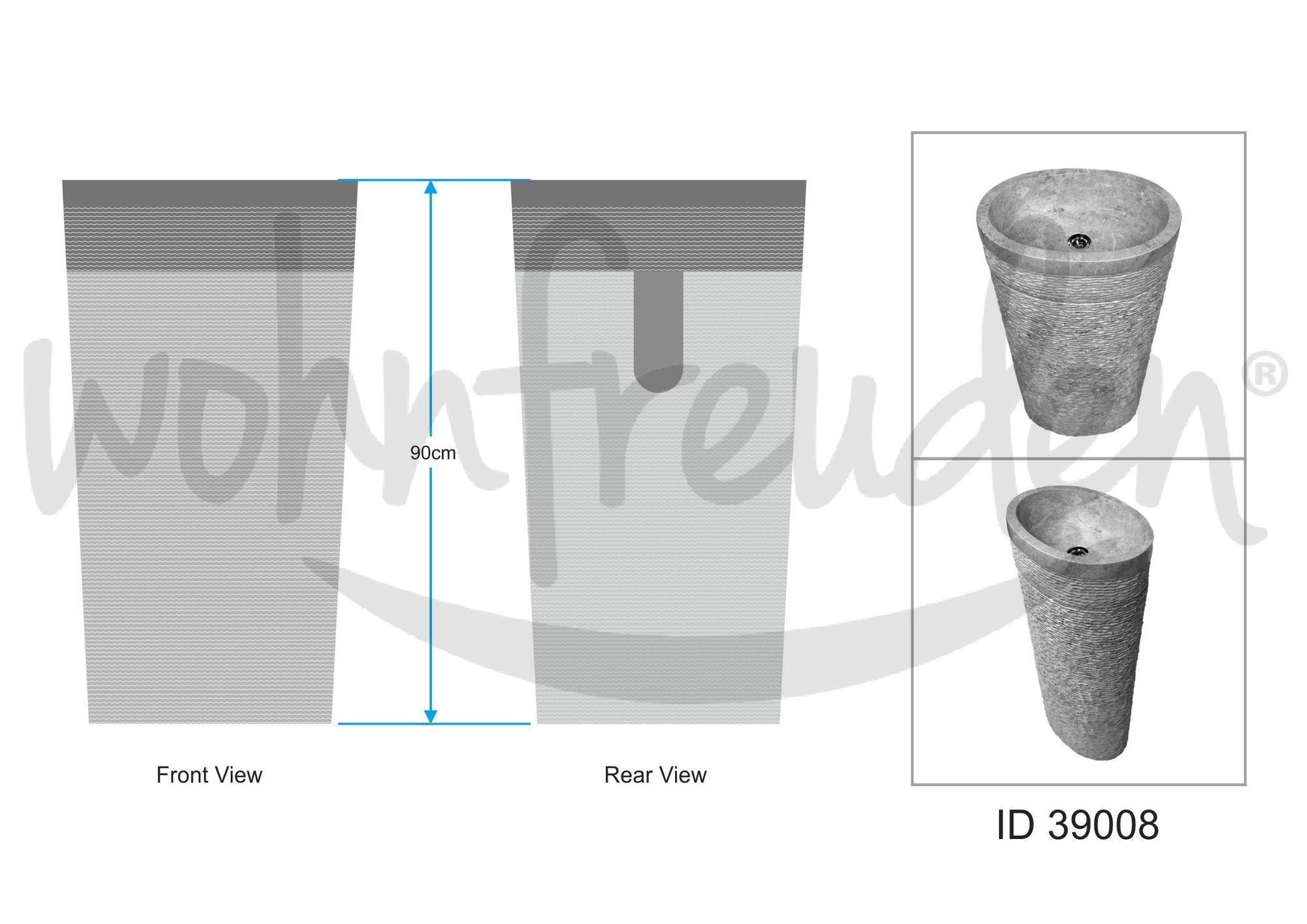 WOHNFREUDEN Marmor Waschtischsäule Standwaschbecken 50x35x90 cm oval creme weiss Halbsäule