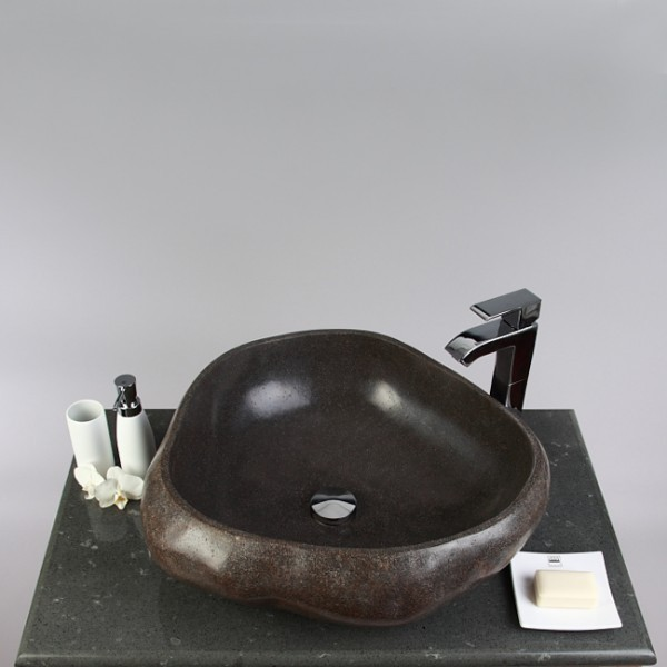 WOHNFREUDEN Naturstein Aufsatz-Waschbecken 50 cm rund poliert Stein Bad Gäste WC