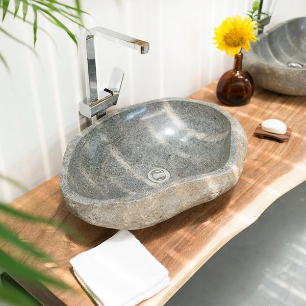 Flußstein Waschbecken 60 cm innen poliert